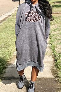 Grey Cotton Blend Casual Halloween Pattern Printing Loose Long Sleeve Hooded Slit T-Shirts Long Dress H1735-5