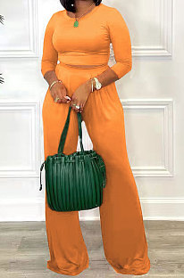 Orange Fashion Casual Long Sleeve Round Neck T-Shirts High Waist Wide Leg Pants Solid Color Sets TRS1179-4