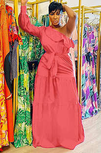 Watermelon Red Flounce Bandage Zipper Oblique Shoulder Irregular Long Dress GL6516-1