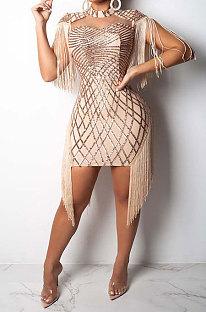 Apricot Women Fashion Sexy Sequins Tassel Mesh Spaghetti Mini Dress CCY8033-1