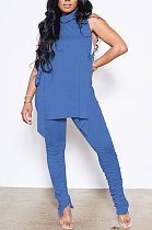 Blue Personality Pure Color Sleeveless High Neck Tops Ruffle Trousers Casual Sets YYF8247-3