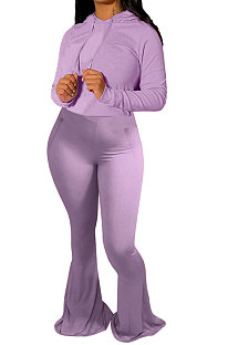 Purple Wholesale Cotton Blend Long Sleeve Hoodie Flare Pants Slim Fitting Solid Color Sets YYF8249-1