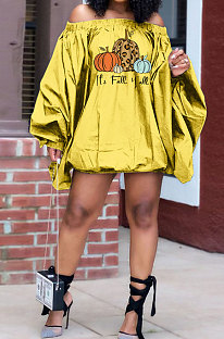 Yellow Wholesale Halloween Pattern Print Lantern Sleeve A Wrod Shoulder Loose Mini Dress H1727-1