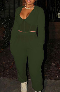 Drak Green Sexy Mesh Spliced Long Sleeve V Neck Tops Loose Ankle Banded Pants Casual Sets YYF8254-4