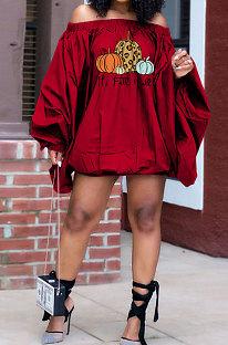 Red Wholesale Halloween Pattern Print Lantern Sleeve A Wrod Shoulder Loose Mini Dress H1727-2