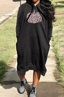 Black Cotton Blend Casual Halloween Pattern Printing Loose Long Sleeve Hooded Slit T-Shirts Long Dress H1735-1