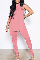 Pink Personality Pure Color Sleeveless High Neck Tops Ruffle Trousers Casual Sets YYF8247-6