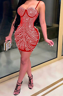 Red Women Sexy Sleeveless Hip Fashion Bling Bling Mid Waist Mini Dress CCY9149-3