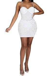 White Women Sexy Sleeveless Hip Fashion Bling Bling Mid Waist Mini Dress CCY9149-2