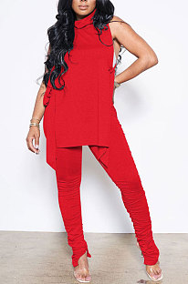 Red Personality Pure Color Sleeveless High Neck Tops Ruffle Trousers Casual Sets YYF8247-4