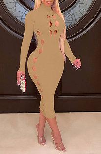 Khaki Women Hollow Out Solid Color Roudn Collar Mid Waist Long Sleeve Midi Dress JR3658-3
