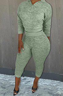 Light Green Whoelsale Sport Long Sleeve Hoodie Sweat Pants Solid Color Casual Sets X9327-2
