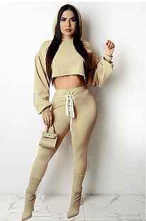 Khaki Women Sexy Autumn Winter Drawsting Pure Color Crop Tops Pants Sets KZ2143-3