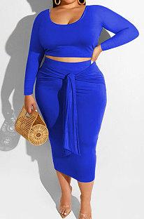 Blue Fashion Big Yards Long Sleeve Round Neck Crop Tops Bandage Hip Skirts Slim Fitting Sets SMD82083-1