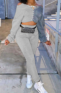 Gray Cotton Blend Casual Spliced Eyelet Bandage Crop Tops High Waist Ankle Banded Pants Sets SM9208-2