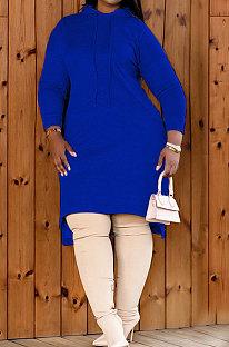 Dark Blue Autumn Winter Lady Loose Long Sleeve Solid Color Round Collar Irregular Mini Dress KZ2140-4