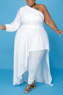 White Cotton Blend Big Yards One Sleeve Oblique Shoulder Irregularity Tops Pencil Pants Far Women Sets X9328-1