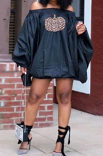 Black Fashion Halloween Printing A Wrod Shoulder Lantern Sleeve Loose Mini Dress H1733-4
