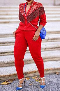 Red Euramerican Fashion Tassel Tops Coat Zipper Pocket Pants Sets CCY9212-1