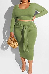Fruit Green Fashion Big Yards Long Sleeve Round Neck Crop Tops Bandage Hip Skirts Slim Fitting Sets SMD82083-1