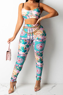 Green Sexy Women Fashion Printing Tight Condole Belt Skinny Backless Long Pants Sets CCY9198-3