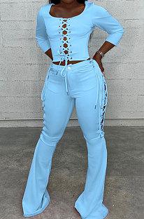 Blue Fashion Club Eyelet Bandage Long Sleeve Dew Waist Tops Mid Waist Flare Pants Solid Color Sets MLL177-1
