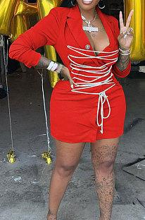 Red Modest Wholesale Long Sleeve Lapel Neck Bandage Suits Jacket Dress HH8986-2