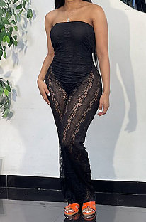 Black Sexy Night Club Lace See-Through Strapelss Collect Waist Jumpsuits QZ3326