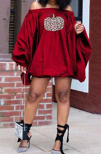 Red Fashion Halloween Printing A Wrod Shoulder Lantern Sleeve Loose Mini Dress H1733-2