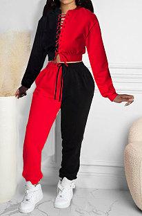 Red Women Bandage Eyelet Color Matching Spliced Pants Sets MDF5259-2