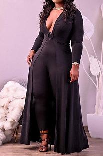 Black Big Yards Cotton Blend Long Sleeve Irregularity Dress+Bodycon Jumpsuits Slim Fitting Sets HT6077-1