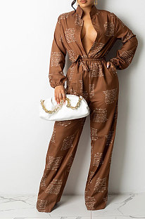 Coffee Autumn Winter Digital Printing Long Sleeve Cardigan Shirts With Beltband Wide Leg Jumpsuits ARM8309-1
