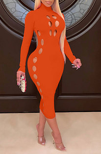 Orange Women Hollow Out Solid Color Roudn Collar Mid Waist Long Sleeve Midi Dress JR3658-2
