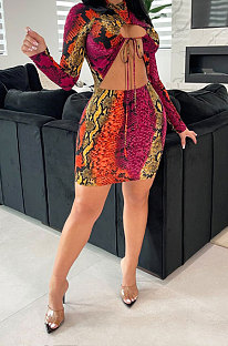 Red Women Sexy Bandage Hollow Out Printing Bodycon Crop Mini Dress KA7206