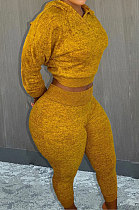 Yellow Whoelsale Sport Long Sleeve Hoodie Sweat Pants Solid Color Casual Sets X9327-1
