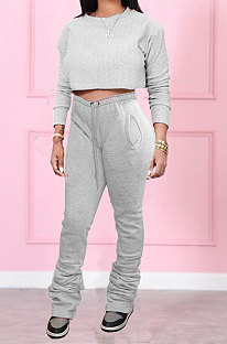 Gray Women Long Sleeve Round Collar Pure Color Crop Ruffle Pants Sets MDF5260-2