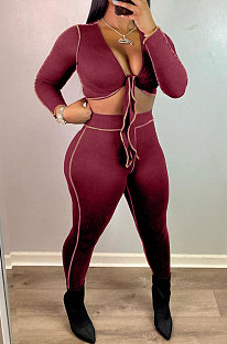 Wine Red Euramerican Pure Color Long Sleeve Bandage Cardigan Strapless Bodycon Pants Sets HT6076-2
