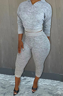 Gray Whoelsale Sport Long Sleeve Hoodie Sweat Pants Solid Color Casual Sets X9327-3