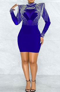 Blue Women Sexy Perspectivity Hip Mid Waist Zipper Bling Bling Mini Dress CCY9232A-3