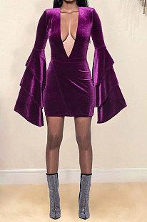 Dark Purple Women Deep V Collar Mink Cashmere Horn Sleeve Mid Waist Zipper Romper Shorts MDF5261