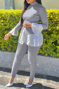 Gray Women Casual Long Sleeve Spliced Puff Sleeve Ruffle Pants Sets JZH8089
