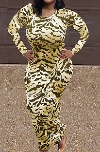 Yellow Women Round Collar Long Sleeve Printing Tight Sexy Loose Waist Long Dress KZ2142-2