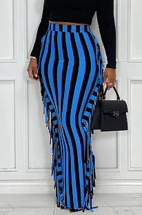 Blue Euramerican Women Stripe Printing Tassel Pencil Skirts AL188-4