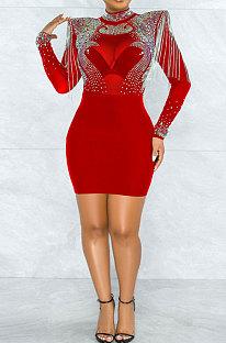 Red Women Sexy Perspectivity Hip Mid Waist Zipper Bling Bling Mini Dress CCY9232A-2