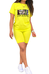 Women Printing Sport Short Sleeve Round Collar Shorts Sets QQM2015