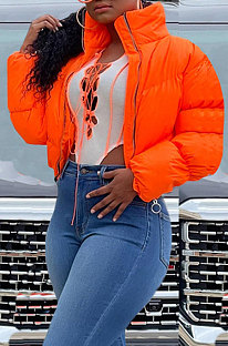 Orange Women Long Sleeve Cardigan Zipper Solid Color Keep Warm Down Jacket KZ2141-1