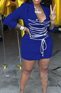 Blue Modest Wholesale Long Sleeve Lapel Neck Bandage Suits Jacket Dress HH8986-3