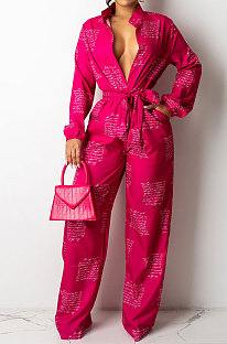 Red Autumn Winter Digital Printing Long Sleeve Cardigan Shirts With Beltband Wide Leg Jumpsuits ARM8309-1