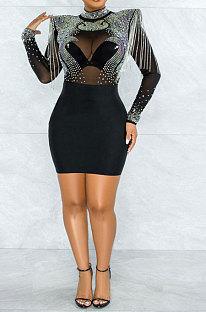 Black Women Sexy Perspectivity Hip Mid Waist Zipper Bling Bling Mini Dress CCY9232A-1