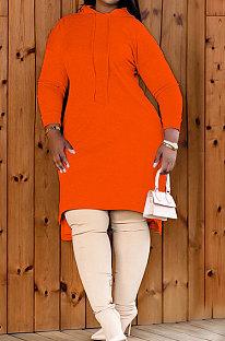 Orange Autumn Winter Lady Loose Long Sleeve Solid Color Round Collar Irregular Mini Dress KZ2140-1